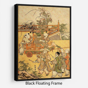 Chinese children by Hokusai Floating Frame Canvas