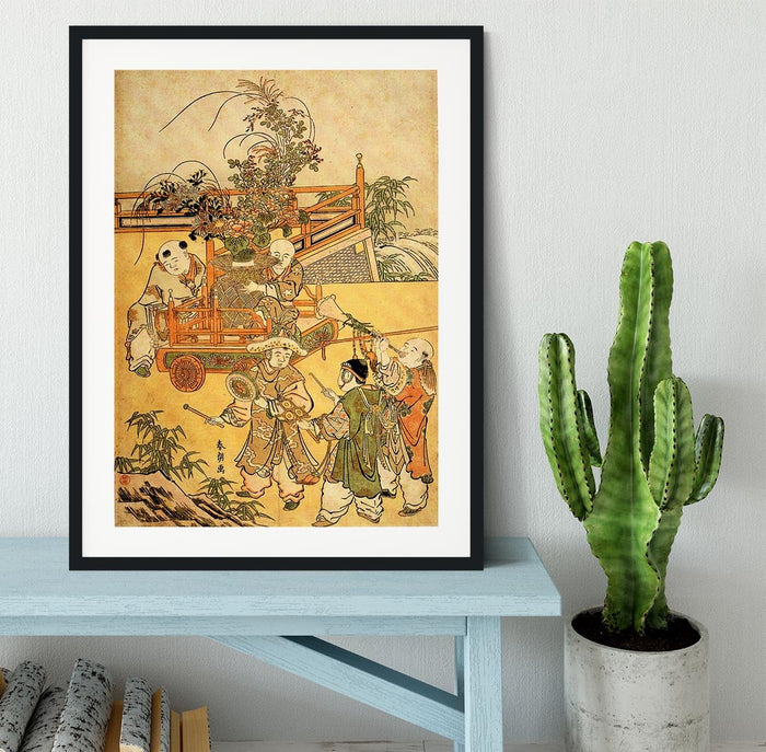 Chinese children by Hokusai Framed Print