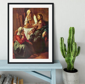 Christ with Mary and Martha by Vermeer Framed Print - Canvas Art Rocks - 1