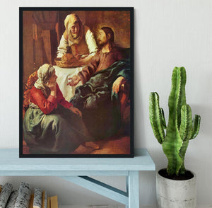 Christ with Mary and Martha by Vermeer Framed Print - Canvas Art Rocks - 2