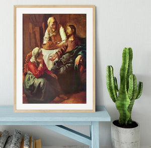Christ with Mary and Martha by Vermeer Framed Print - Canvas Art Rocks - 3