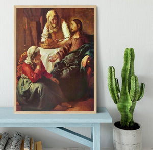 Christ with Mary and Martha by Vermeer Framed Print - Canvas Art Rocks - 4