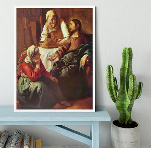Christ with Mary and Martha by Vermeer Framed Print - Canvas Art Rocks -6