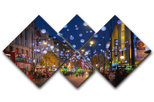 Christmas lights on Oxford street 4 Square Multi Panel Canvas  - Canvas Art Rocks - 1