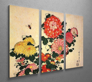 Chrysanthemum and bee by Hokusai 3 Split Panel Canvas Print - Canvas Art Rocks - 2
