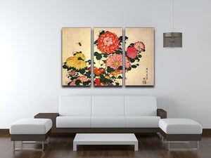 Chrysanthemum and bee by Hokusai 3 Split Panel Canvas Print - Canvas Art Rocks - 3