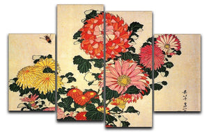 Chrysanthemum and bee by Hokusai 4 Split Panel Canvas  - Canvas Art Rocks - 1