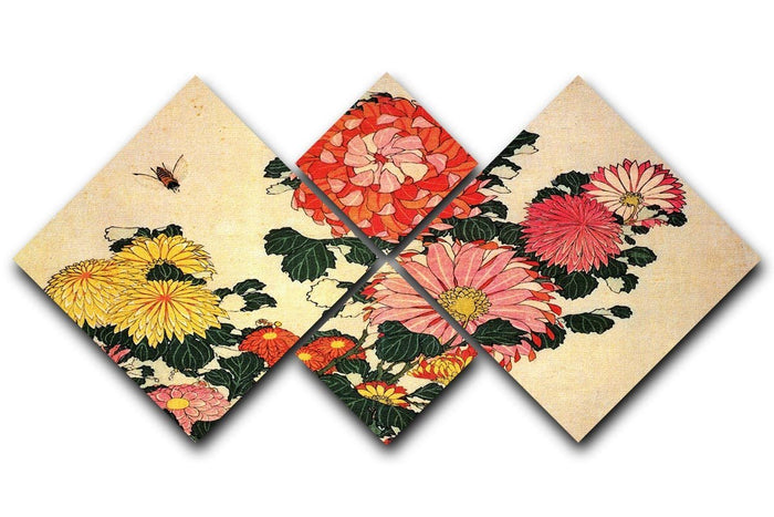 Chrysanthemum and bee by Hokusai 4 Square Multi Panel Canvas
