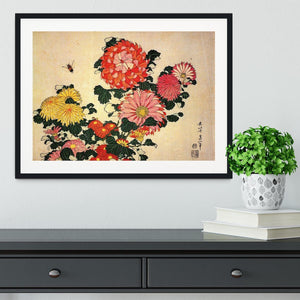 Chrysanthemum and bee by Hokusai Framed Print - Canvas Art Rocks - 1