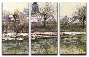 Church of Vetheuil in the snow by Monet Split Panel Canvas Print - Canvas Art Rocks - 4