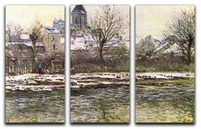 Church of Vetheuil in the snow by Monet Split Panel Canvas Print