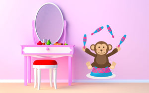 Circus Juggling Monkey Wall Sticker - Canvas Art Rocks - 1