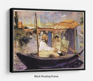 Claude Monet Dans Son Bateau Atelier 1874 by Manet Floating Frame Canvas
