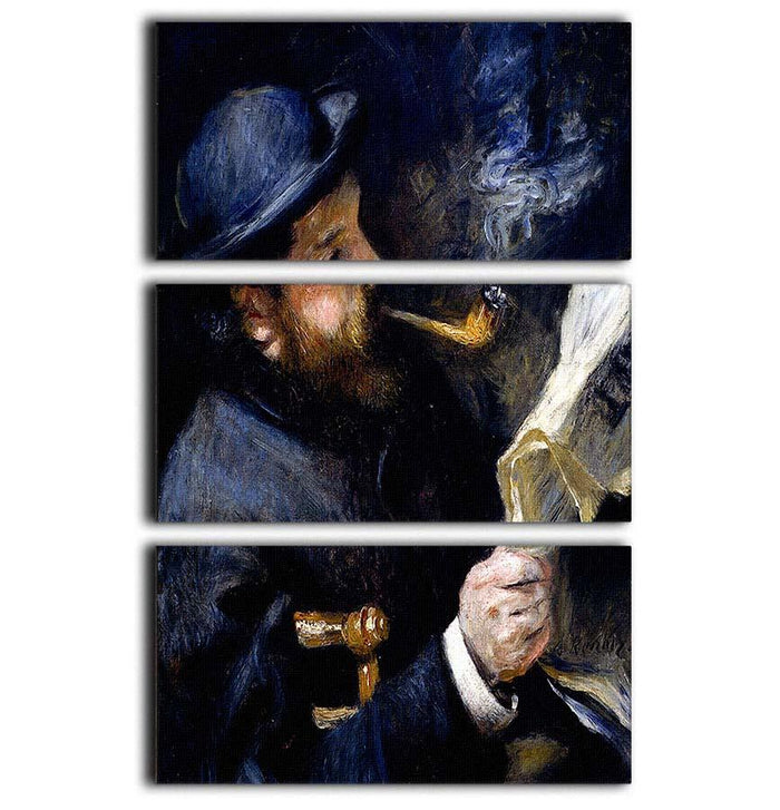 Claude Monet Reading A Newspaper by Renoir 3 Split Panel Canvas Print