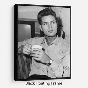 Cliff Richard with a cup of tea Floating Frame Canvas - Canvas Art Rocks - 1