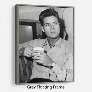 Cliff Richard with a cup of tea Floating Frame Canvas - Canvas Art Rocks - 3