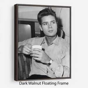 Cliff Richard with a cup of tea Floating Frame Canvas - Canvas Art Rocks - 5