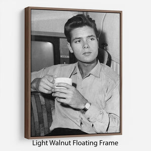 Cliff Richard with a cup of tea Floating Frame Canvas - Canvas Art Rocks - 7