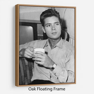 Cliff Richard with a cup of tea Floating Frame Canvas - Canvas Art Rocks - 9