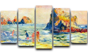 Cliffs at Guernsey by Renoir 5 Split Panel Canvas  - Canvas Art Rocks - 1