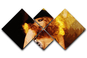Close Up of Christina Aguilera from Burlesque 4 Square Multi Panel Canvas  - Canvas Art Rocks - 1
