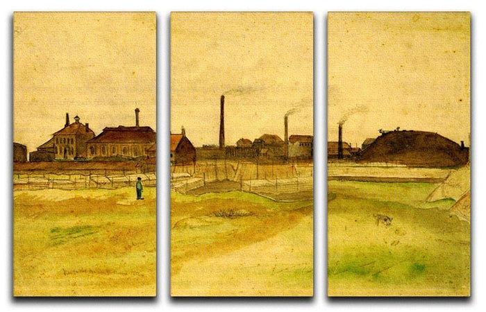 Coalmine in the Borinage by Van Gogh 3 Split Panel Canvas Print