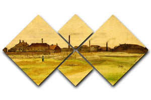 Coalmine in the Borinage by Van Gogh 4 Square Multi Panel Canvas  - Canvas Art Rocks - 1