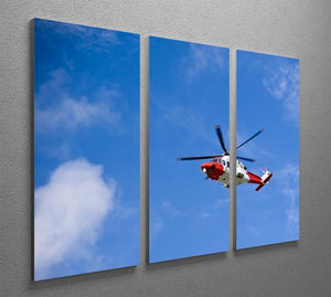 Coastguard helicopter in the blue sky 3 Split Panel Canvas Print - Canvas Art Rocks - 2