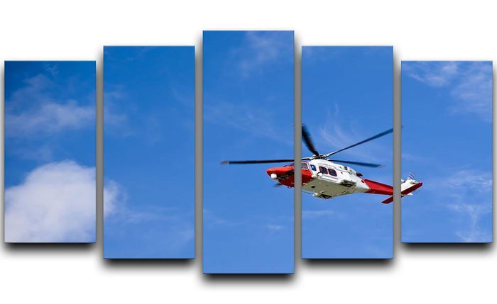 Coastguard helicopter in the blue sky 5 Split Panel Canvas