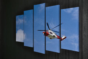 Coastguard helicopter in the blue sky 5 Split Panel Canvas  - Canvas Art Rocks - 2