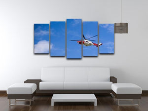 Coastguard helicopter in the blue sky 5 Split Panel Canvas  - Canvas Art Rocks - 3