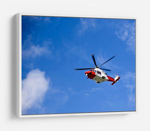 Coastguard helicopter in the blue sky HD Metal Print