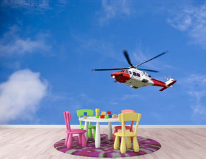 Coastguard helicopter in the blue sky Wall Mural Wallpaper - Canvas Art Rocks - 3