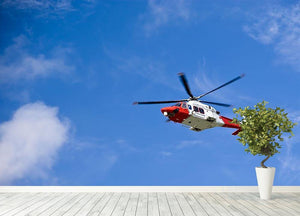 Coastguard helicopter in the blue sky Wall Mural Wallpaper - Canvas Art Rocks - 4