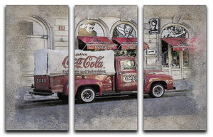 Coca Cola Van Painting 3 Split Panel Canvas Print - Canvas Art Rocks - 1
