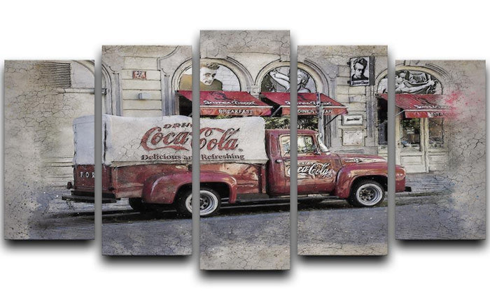 Coca Cola Van Painting 5 Split Panel Canvas
