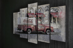 Coca Cola Van Painting 5 Split Panel Canvas - Canvas Art Rocks - 2