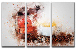 Coffee Painting 3 Split Panel Canvas Print - Canvas Art Rocks - 1