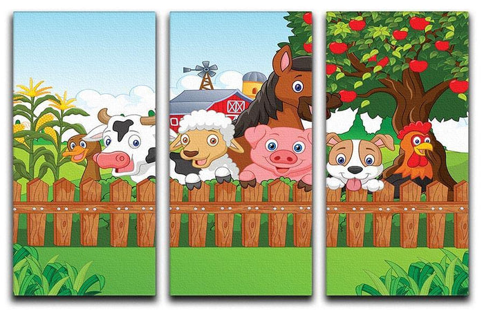 Collection farm animals 3 Split Panel Canvas Print