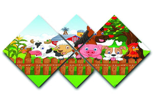 Collection farm animals 4 Square Multi Panel Canvas  - Canvas Art Rocks - 1