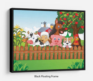 Collection farm animals Floating Frame Canvas