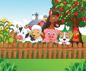 Collection farm animals Wall Mural Wallpaper - Canvas Art Rocks - 1