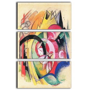 Colored flowers by Franz Marc 3 Split Panel Canvas Print - Canvas Art Rocks - 1