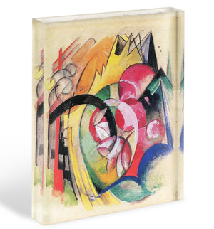 Colored flowers by Franz Marc Acrylic Block - Canvas Art Rocks - 1