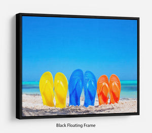 Colorful beach flip flops Floating Frame Canvas - Canvas Art Rocks - 1