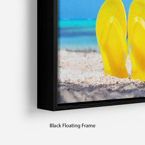 Colorful beach flip flops Floating Frame Canvas - Canvas Art Rocks - 2