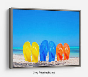 Colorful beach flip flops Floating Frame Canvas - Canvas Art Rocks - 3