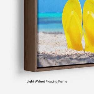 Colorful beach flip flops Floating Frame Canvas - Canvas Art Rocks - 8