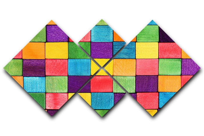 Colorful blocks 4 Square Multi Panel Canvas