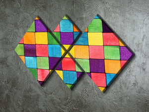 Colorful blocks 4 Square Multi Panel Canvas  - Canvas Art Rocks - 2